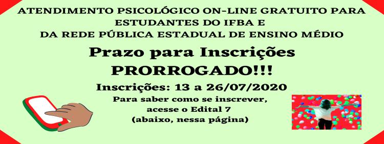 Prorrogação das Inscrições do Atendimento Psicológico