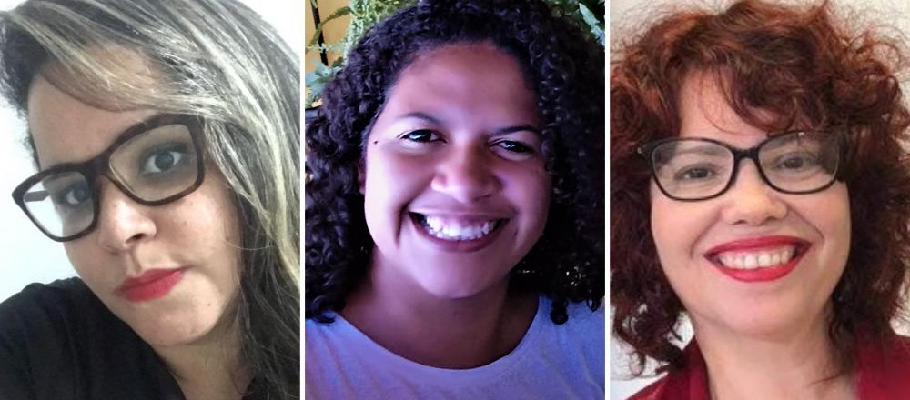 Adriana Vieira, professora em Lauro de Freitas e as pedagogas Shirley de Souza e Indaira Silva
