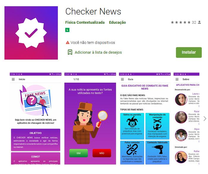 Interface app Checker News